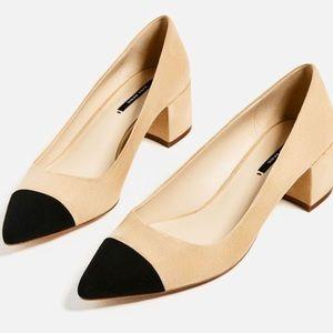 Zara block heel black cap toe pumps